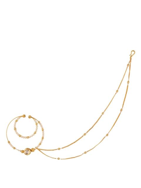 Yosshita & Neha Women Gold Polished & White Beaded Nose Ring