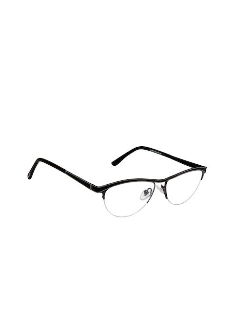 Cardon Women Black Solid Half Rim Oval Frames EWCD2085MGM8010
