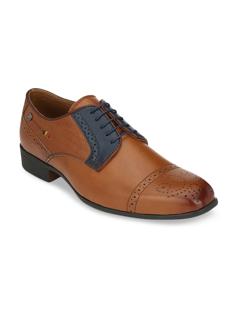 Fentacia Men Tan Brown Synthetic Leather Formal Derbys