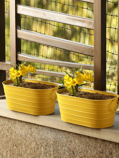 ExclusiveLane Set of 2 Yellow Solid Hand-Painted Floor Cum Table Planters