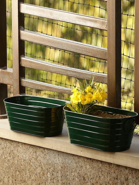 ExclusiveLane Set of 2 Green Solid Hand-Painted Floor Cum Table Planters