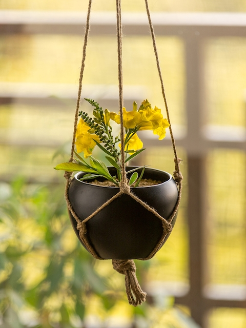 ExclusiveLane Black Solid Hand-Painted Hanging Planter