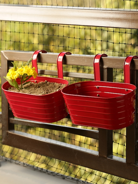 ExclusiveLane Set of 2 Red Solid Hand-Painted Railing Cum Table Planters
