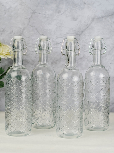 GOODHOMES Set of 4 Transparent Water Bottles with Airtight Flip Swing Cap