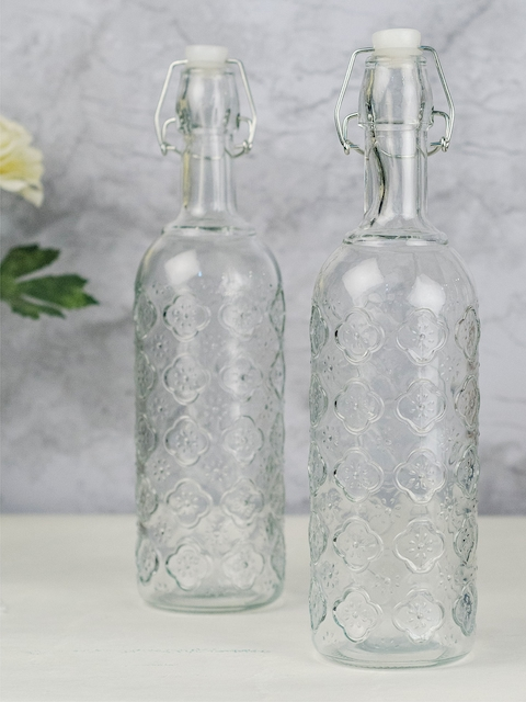GOODHOMES Set of 2 Transparent Water Bottles with with Airtight Flip Swing Cap