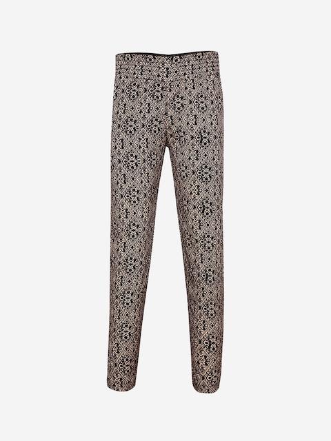Oxolloxo Girls Black & Beige Smart Regular Fit Printed Regular Trousers
