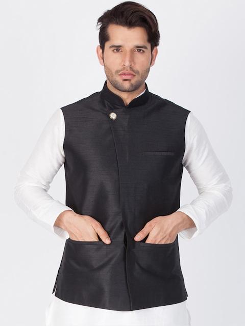 Vastramay Men Black Solid Nehru Jacket