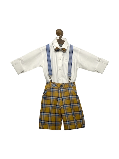 RIKIDOOS Boys Mustard Brown & White Checked Dungaree With Shirt
