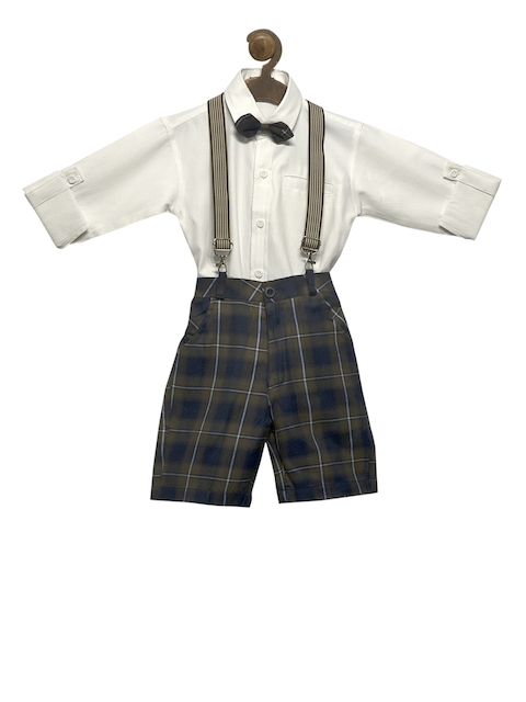 RIKIDOOS Boys Navy Blue & White Checked Dungaree With Shirt