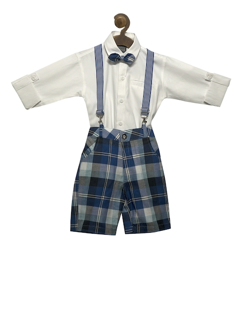 RIKIDOOS Boys Blue & White Checked Dungaree With Shirt