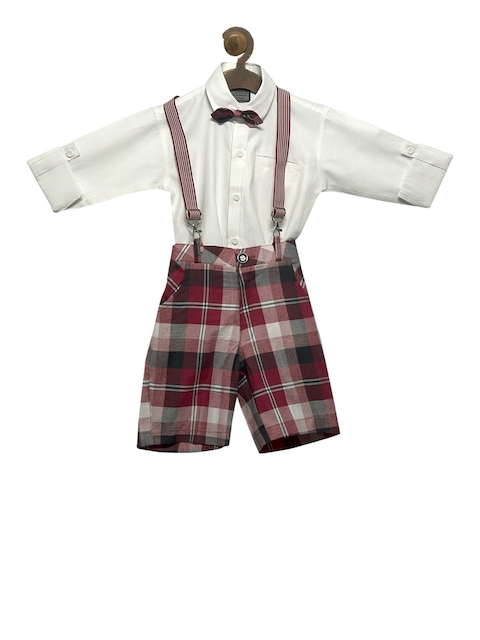 RIKIDOOS Boys Red & White Checked Dungaree With Shirt
