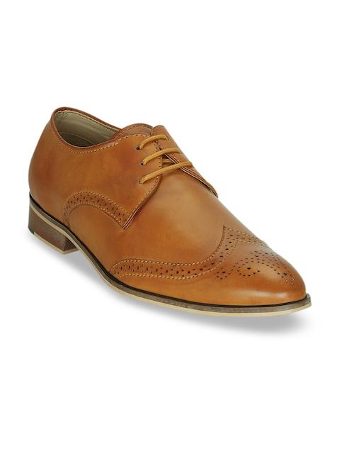 Kielz Men Tan Brown Leather Brogues