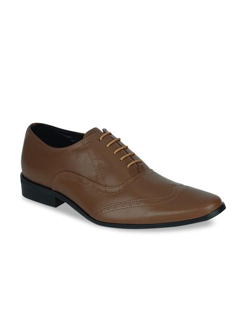 Kielz Men Tan Brown Leather Formal Brogues