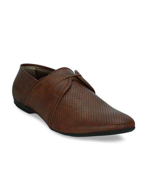 Kielz Men Tan Brown Leather Formal Derbys