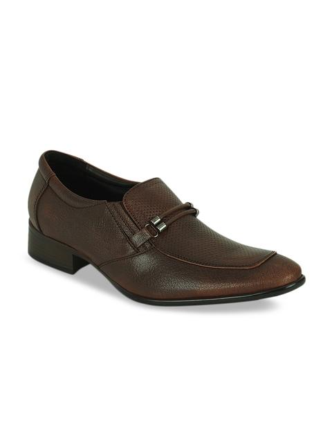Kielz Men Brown Leather Formal Slip-Ons