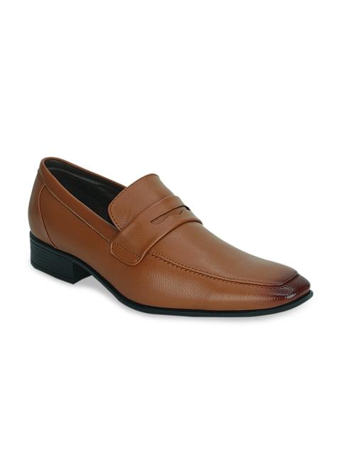 Kielz Men Tan Brown Leather Formal Slip-Ons