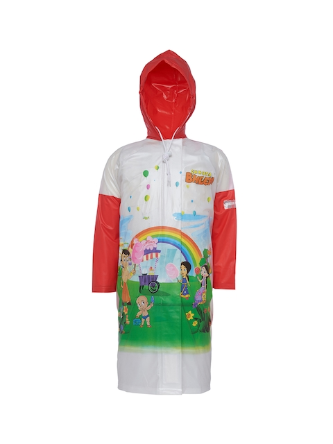 Zeel Girls White & Red Printed Rain Jacket with Pouch