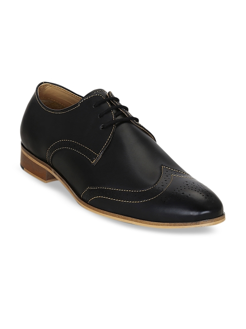 Kielz Men Black Leather Formal Brogues