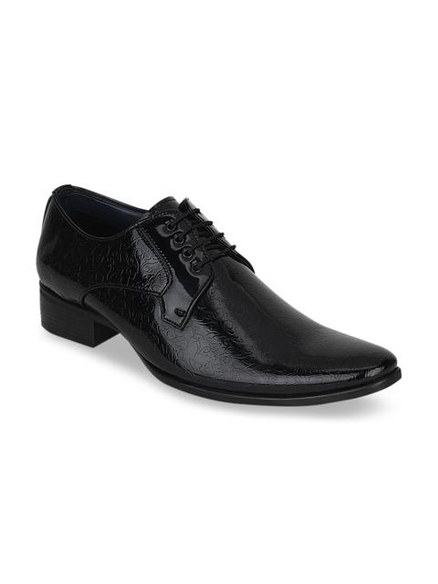 Kielz Men Black Leather Formal Derbys
