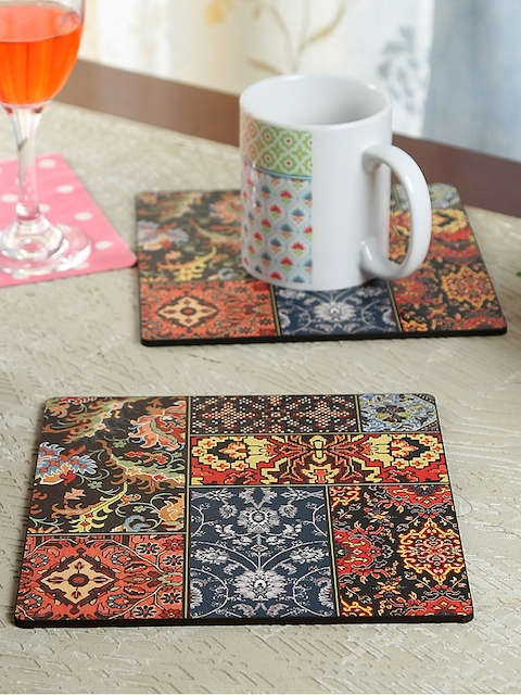 Reinvention Factory Set of 4 Printed Wood Coasters