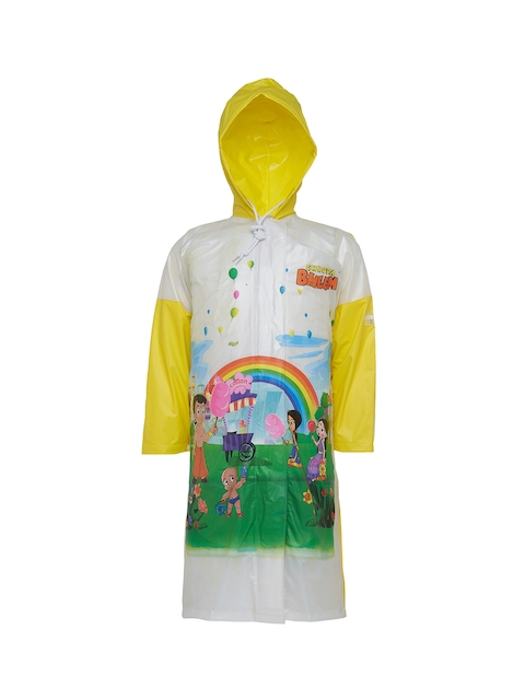 Zeel Girls White & Yellow Printed Rain Jacket with Pouch