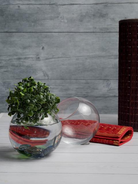 Pasabahce Set of 2 Transparent Glass Flower Vases