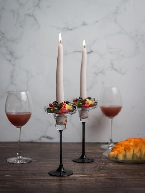 Pasabahce Transparent & Black Glass Candle Holder
