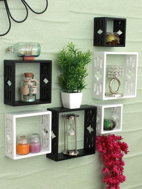 Home Sparkle Black & White Set of 6 MDF Basic Wall Shelves