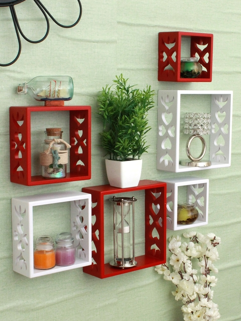 Home Sparkle Red & White Set of 6 MDF Basic Wall Shelves