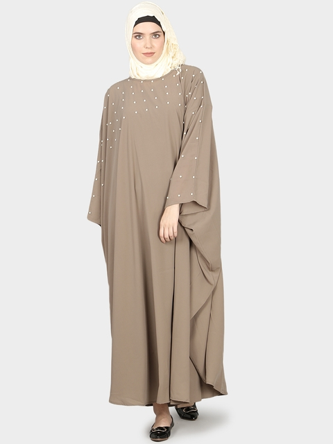 Nazneen Women Khaki-Coloured Solid Burqa with Hijab