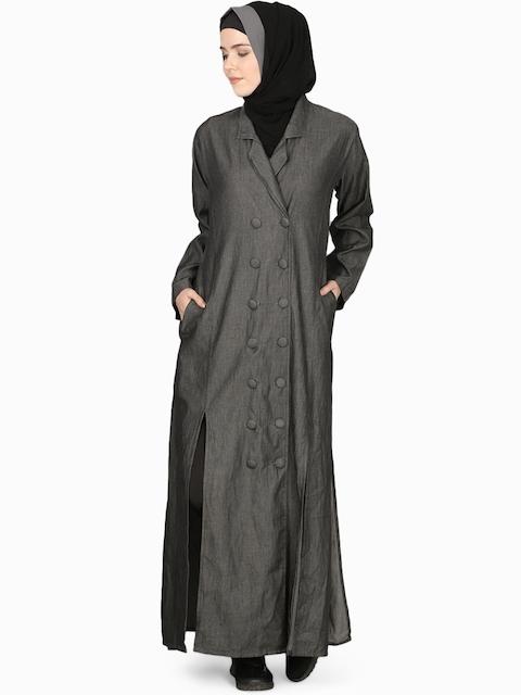 Nazneen Women Charcoal Grey Solid Jilbab with Hijab