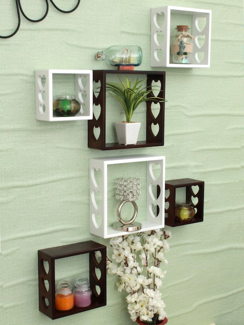 Home Sparkle Brown & White Set of 6 MDF Basic Wall Shelves