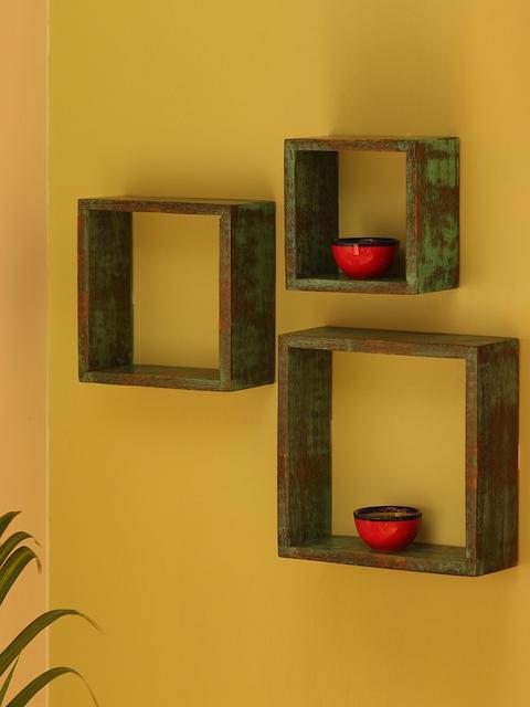 ExclusiveLane Sea Green Set of 3 Wood Basic Wall Shelves