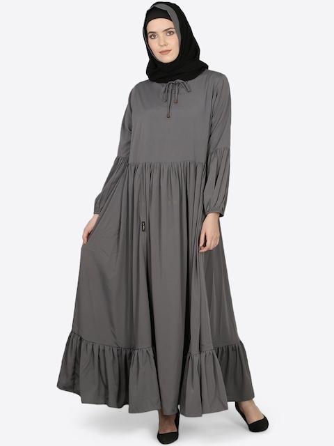 Nazneen Women Grey Solid Burqa with Hijab