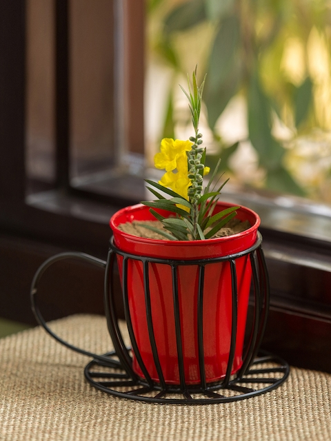 ExclusiveLane Red Solid Floor Cum Table Planter Pot