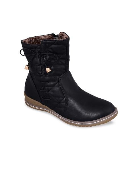 MSC Women Black Solid Mid-Top Flat Boots