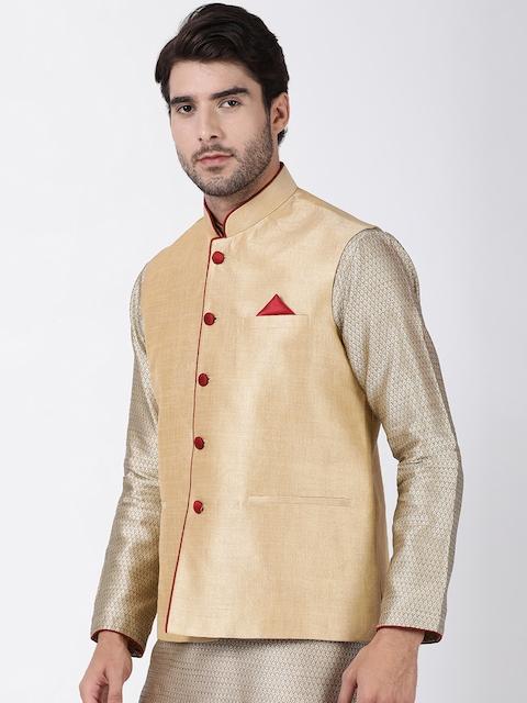 VASTRAMAY Men Beige Solid Woven Nehru Jacket