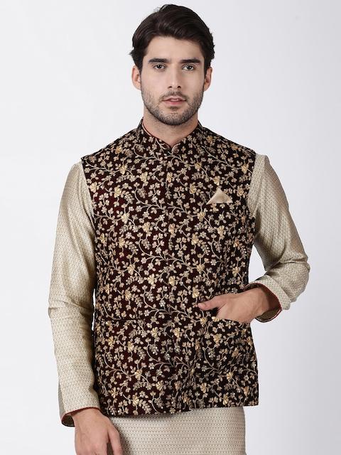 VASTRAMAY Men Maroon & Gold-Toned Woven Design Nehru Jacket