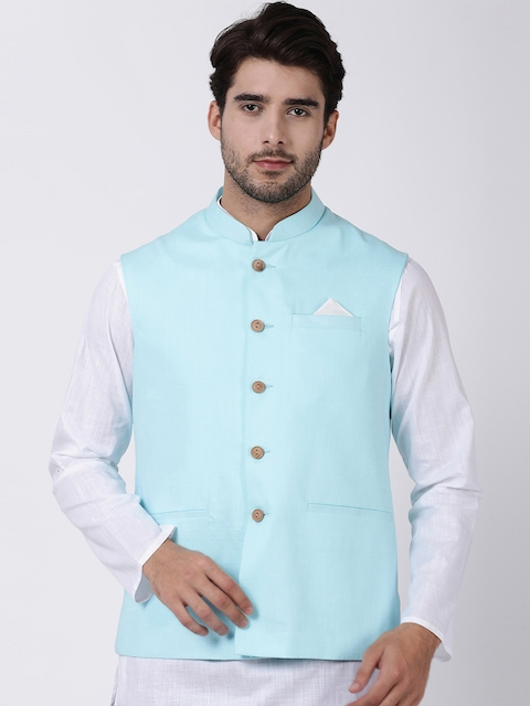 VASTRAMAY Men Blue Solid Woven Nehru Jacket