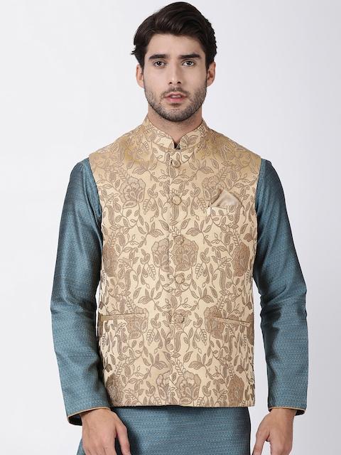 VASTRAMAY Men Beige Woven Design Nehru Jacket