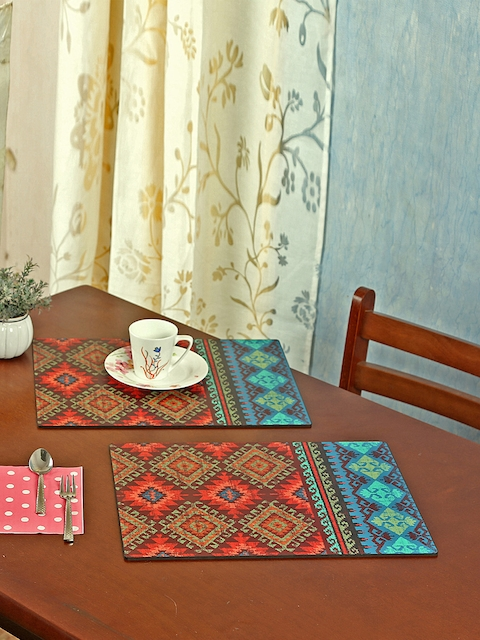 Reinvention Factory Set of 6 Maroon & Turquoise Blue Printed Table Placemats