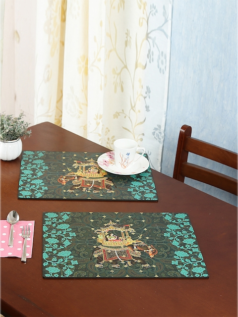 Reinvention Factory Set of 6 Green Printed Table Placemats