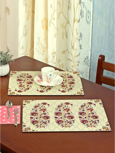 Reinvention Factory Set of 6 Cream-Coloured Printed Table Placemats