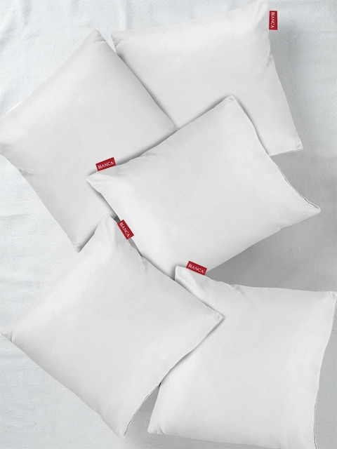 BIANCA Set of 5 White Solid Microfibre Square Cushion