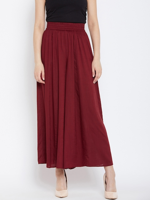 PANIT Women Maroon Flared Solid Palazzos