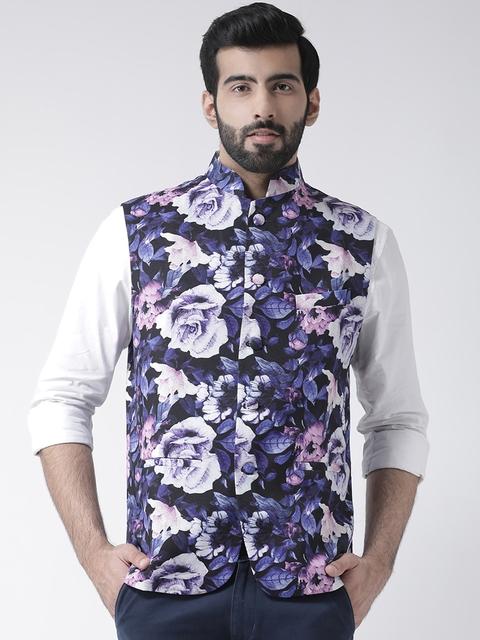 Hangup Men Black & Purple Printed Nehru Jacket