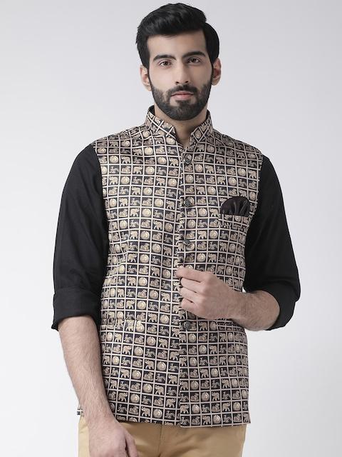 Hangup Men Black & Beige Printed Linen Nehru Jacket