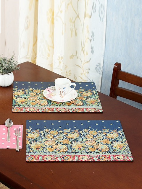 Reinvention Factory Set of 6 Navy Blue Printed Table Placemats