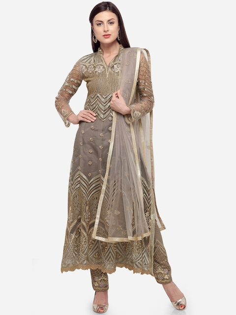 Stylee LIFESTYLE Grey & Gold-Toned Net Semi-Stitched Dress Material