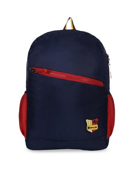 Impulse Unisex Navy Blue Solid Backpack